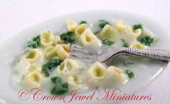 OOAK ARTIST Broccoli Orecchiette Al Fredo Pasta Dish by Crown Jewel Miniatures