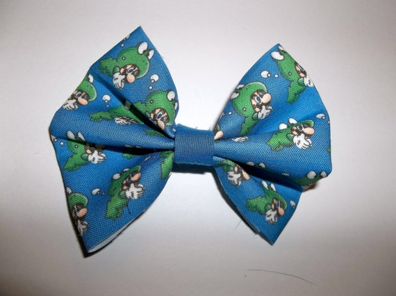 Frog Mario fabric hair bow or bow tie