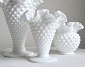 Fenton Hobnail Milk Glass Trumpet Vase - Medium