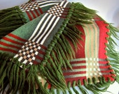 Beacon Blanket in Cotton Reversible Plaid Shawl Fringe Throw Blanket c 1930