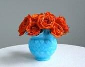 Blue Milk Glass Vase -- Old Virginia Glass by Fenton
