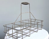 50 OFF SALE - Vintage Industrial Painted Metal Bottle Carrier for Storage and Organization Caddy