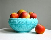 Vintage Turquoise Blue Milk Glass Bowl - Block and Stars Pattern by Fenton circa 1955 - Pastel
