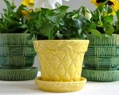 McCoy Pottery Flower Pot - Small Yellow Quilted