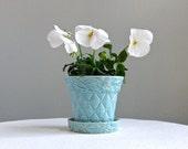 Vintage McCoy Aqua Blue Quilted Pottery Flower Pot