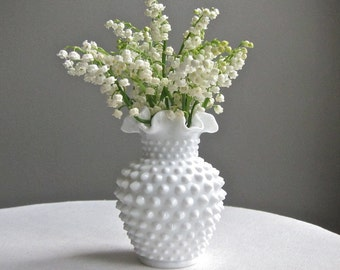 Vintage Fenton Milk Glass Hobnail Vase - Studded Milk Glass Vase - Narrow Neck