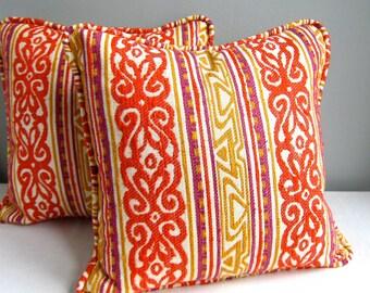 Vintage Fabric Pillow Cover - Funky Orange Silk Stripe, 1960s - Mid Century Fabric Boho Texture Glam Colorful Bright Decor