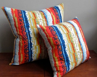 Vintage Cotton Fabric Pillow Cover - 22 Inch - Stripes Striped Red Blue - Tiki Surfer Hawaiian Beach House Decor 1960s
