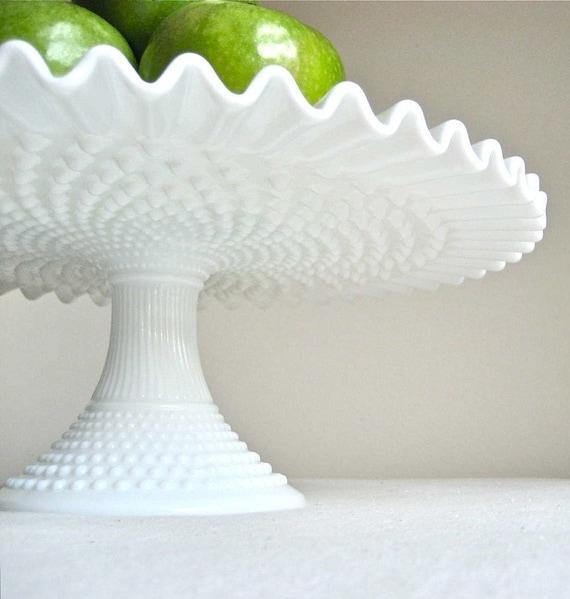 Hobnail Milk Glass Wedding Cake Stand