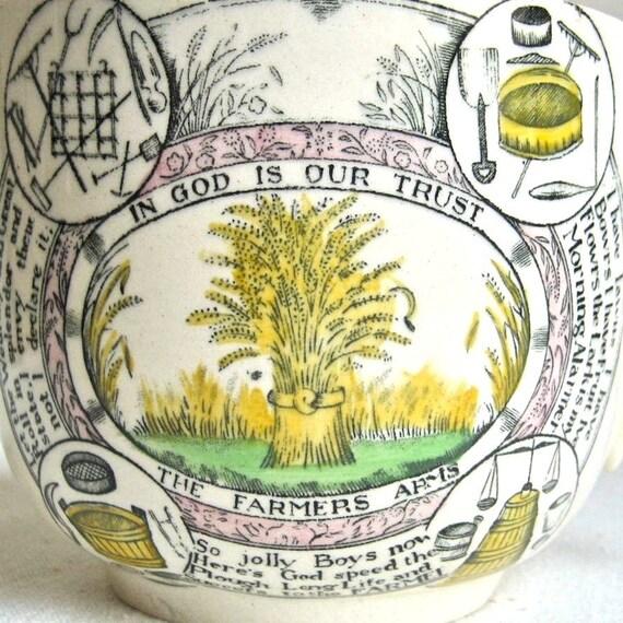 Farmers Arms Transferware Mug, Adams Staffordshire, circa 1900