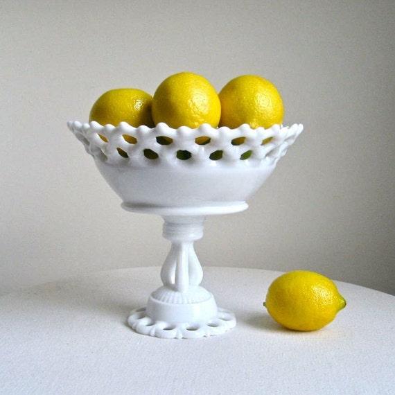 Westmoreland Milk Glass Pedestal Fruit Bowl  -- Doric Pattern