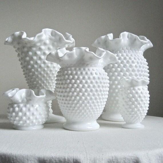 Fenton Hobnail Milk Glass Vase Medium Size