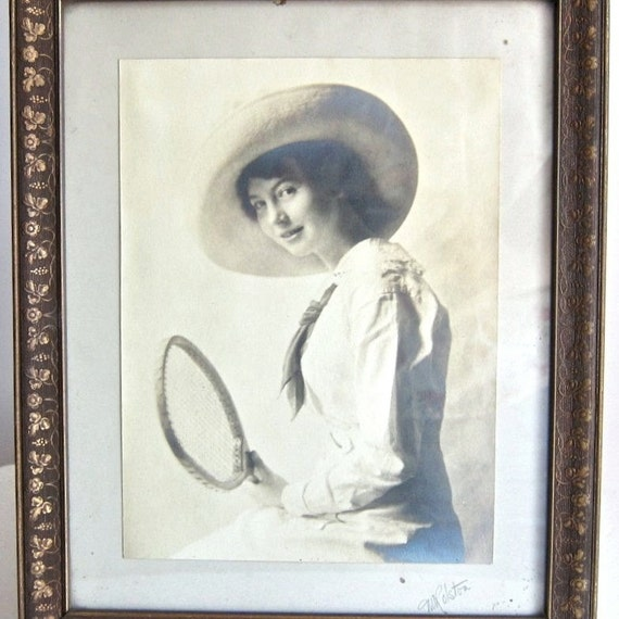 RESERVED - Vintage Photo of a Tennis Player, circa 1910 Sports History Young Woman