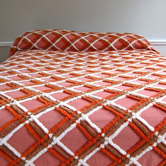 Vintage Chenille Bedspread in Plaid Warm Colors 1950s