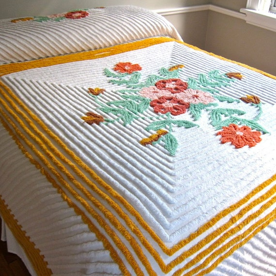 Vintage Chenille Bedspread with Flowers and Gold Border