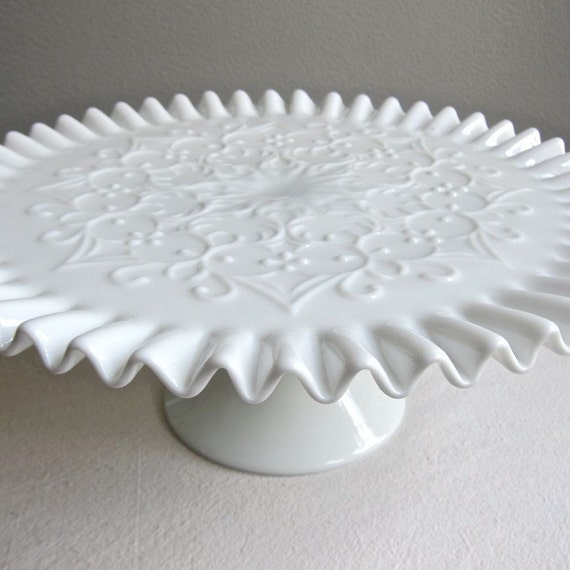 Milk Glass Pedestal Cake Stand -- Spanish Lace by Fenton Early 1950s
