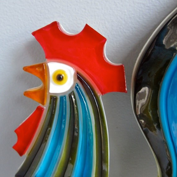 Wondermold Resin Rooster Wall Plaque - 1960s Vintage Kitchen Decor Decoration Mid Century