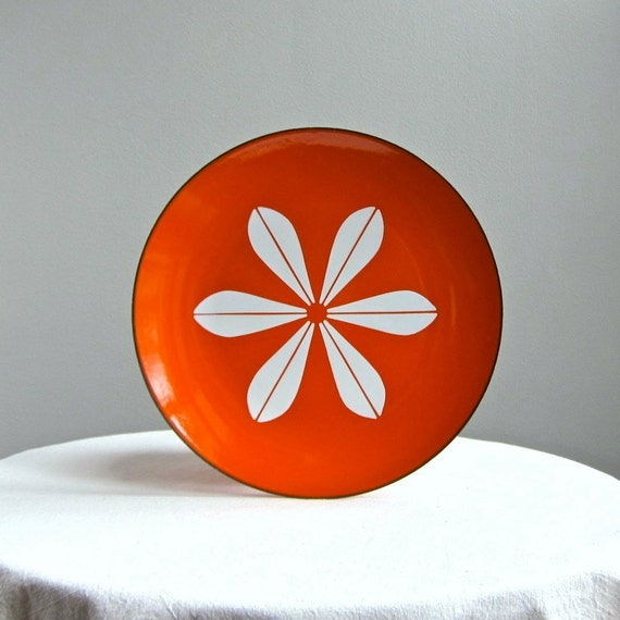 Cathrineholm Enamelware Plate - Lotus in Orange and White
