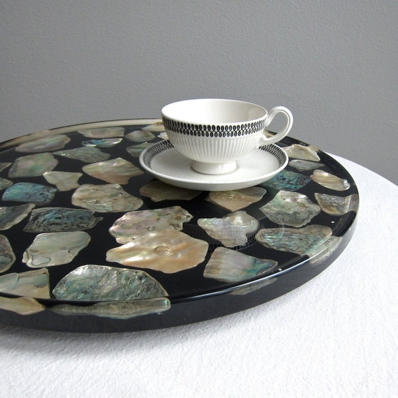 Abalone Shell and Acrylic Lucite Lazy Susan  Mother of Pearl Resin