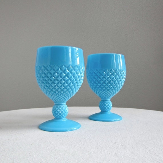 Pair of Westmoreland Blue Milk Glass Goblets English Hobnail Pattern