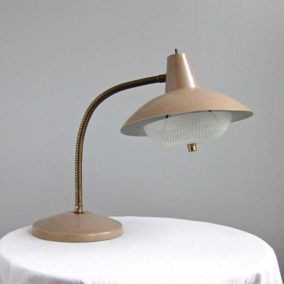 Mid Century Modern Goose Neck Saucer Lamp in Light Brown