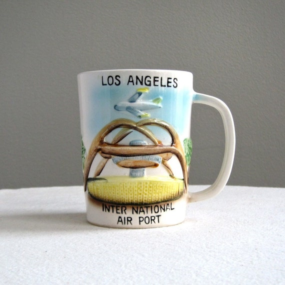 LAX Los Angeles International Airport Ceramic Mug, Jet Set 1960s Japan