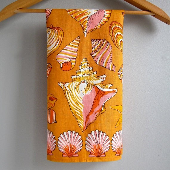 Fallani and Cohn Linen Kitchen Towel with Shells in Orange