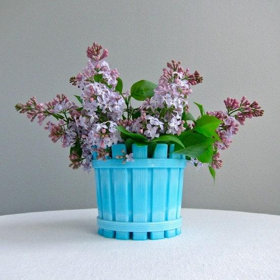 Westmoreland Blue Milk Glass Bucket Form Vase or Dish