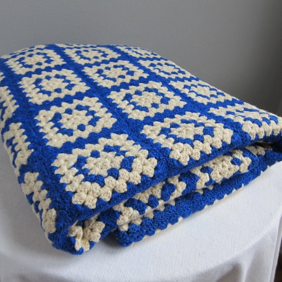 Blue and White Crochet Wool Granny Squares Afghan Throw Blanket
