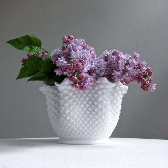 Westmoreland Milk Glass Vase - English Hobnail Handkerchief Form