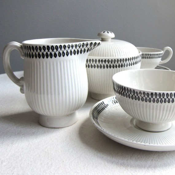 Upsala Ekeby Partial Tea Service - Swedish Modern Ceramic Tea Set 1950s