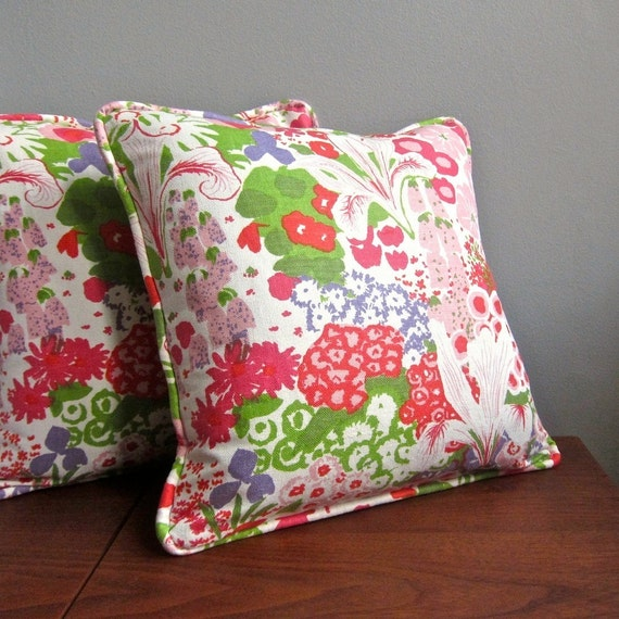 Vintage Fabric Pillow Cover - Pink and Green Floral by Greeff, 1970 - Summertime Flower Show - Girls Room Decor Decorative Throw 20 Inches