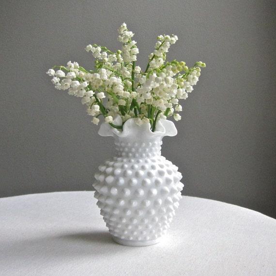 Vintage Fenton Milk Glass Hobnail Vase - Studded Milk Glass Vase - Narrow Neck