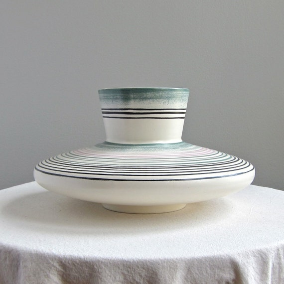 Royal Haeger Striped Pottery Vase -- Smoke Ring Pattern - Mid Century Modern Ceramic