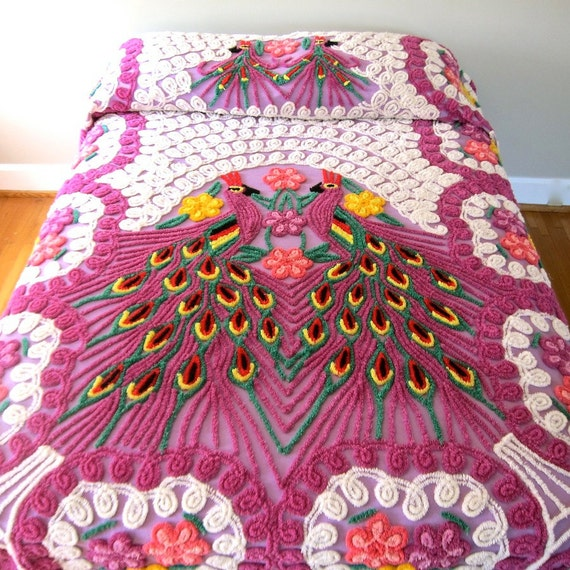 Vintage Peacock Chenille Bedspread - Purple Double Peacock