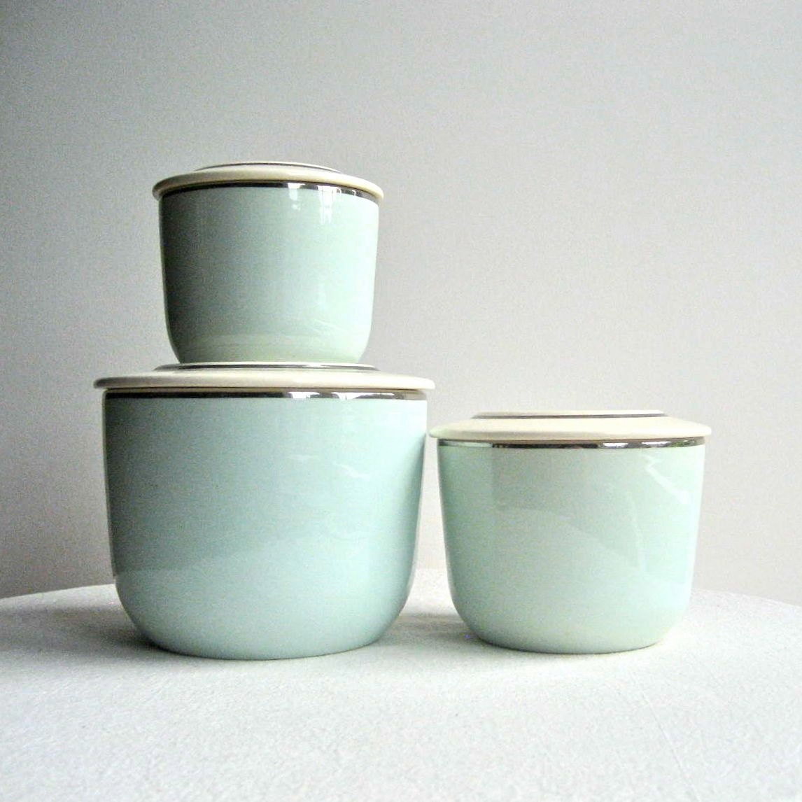Set Of Three Ceramic Kitchen Canisters Ballerina Mist In