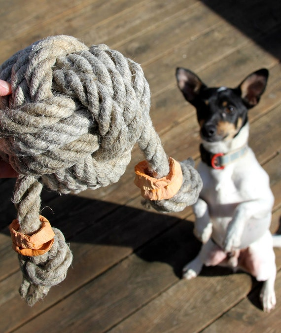 Hemp rope knot X-LARGE dog toy with sweet potato chews