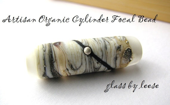 Cyber Monday Free Shipping  Artisan Organic Cylinder Focal Bead