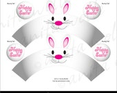 Printable Bunny Cupcake Wrappers and Toppers