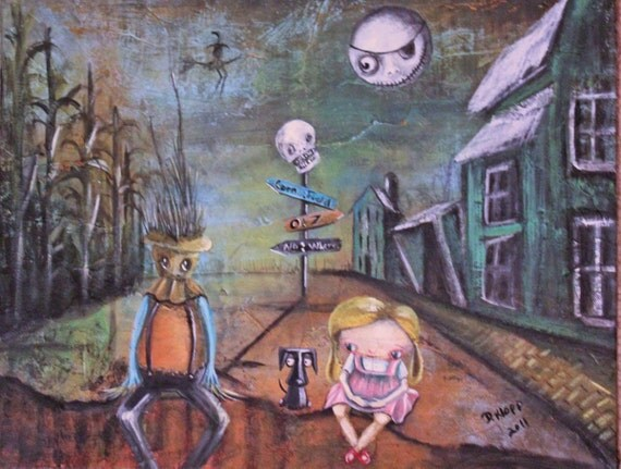 Wizard of Oz Scarecrow Dorothy Fun Whimsical Doll Folk Art Painting