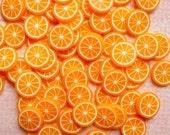 Orange Polymer Clay Cane Fruit Slices Fimo Cane Miniature Food Cake Ice Cream Sundae Kawaii Decoden Supplies Nail Art (75 to 100 pcs) CF001