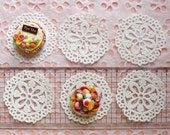 White Cake Lace Doilies in Paper (50mm) (6pcs) - Mini Accessories and Decoration for Miniature Cake / Dessert / Sweets / Food Craft MI05