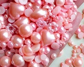Light Pink Round and Heart Pearl Cabochons Assorted Pearl Mix (around 250-450 pcs / 20 gram) (3mm to 15mm) PEMC10