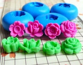 Set of 4 Mini Flower / Rose / Lotus Mold (10 to 12mm) Silicone Flexible Push Mold - Miniature Food, Jewelry (Clay Fimo Resins Fondant) MD592