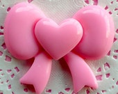 Pink Ribbon Cabochon with Heart Large Bow Cabochon (59mm x 49mm / Flat Back) Kawaii Cabochon Decoden Piece Lolita Accessories Making CAB035