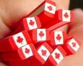 Canada Flag Clay Cane Canadian Flag Fimo Cane Maple Leaf Polymer Clay Cane North America Cane (Cane or Slice) World Flag Scrapbooking CE001