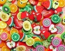 Polymer Clay Cane Fruit Assorted Polymer Clay Slices Mix Mini Miniature Sweets Deco Kawaii  Fruit Tart Fimo Cane Nail Art (150 pcs) CMX002