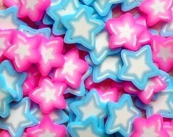 Polymer Clay Cane Star Fimo Slices Mix (Pink, Blue) Mini Sweets Decoden Kawaii Scrapbooking Fimo Cane Nail Art Decoration (80pcs) CMX018