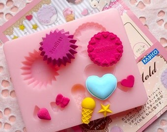 Padico's Cookie / Biscuit / Cupcake / Strawberry / Ribbon / Bow / Ice Cream / Heart Macaron / Star Mold (Japan) Miniature Sweets MD013