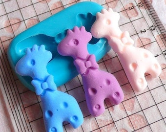 Giraffe with Bow (29mm) Silicone Flexible Push Mold - Jewelry, Charms, Cupcake (Clay Fimo Casting Resin Epoxy Wax Gum Paste Fondant) MD432